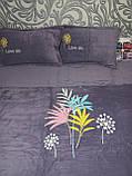 Комплект постільної білизни Велюровий однотонний Сірого кольору євро розмір, фото 10