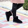 Натуральная замша черные замшевые женские низкие угги зимняя классика, фото 7