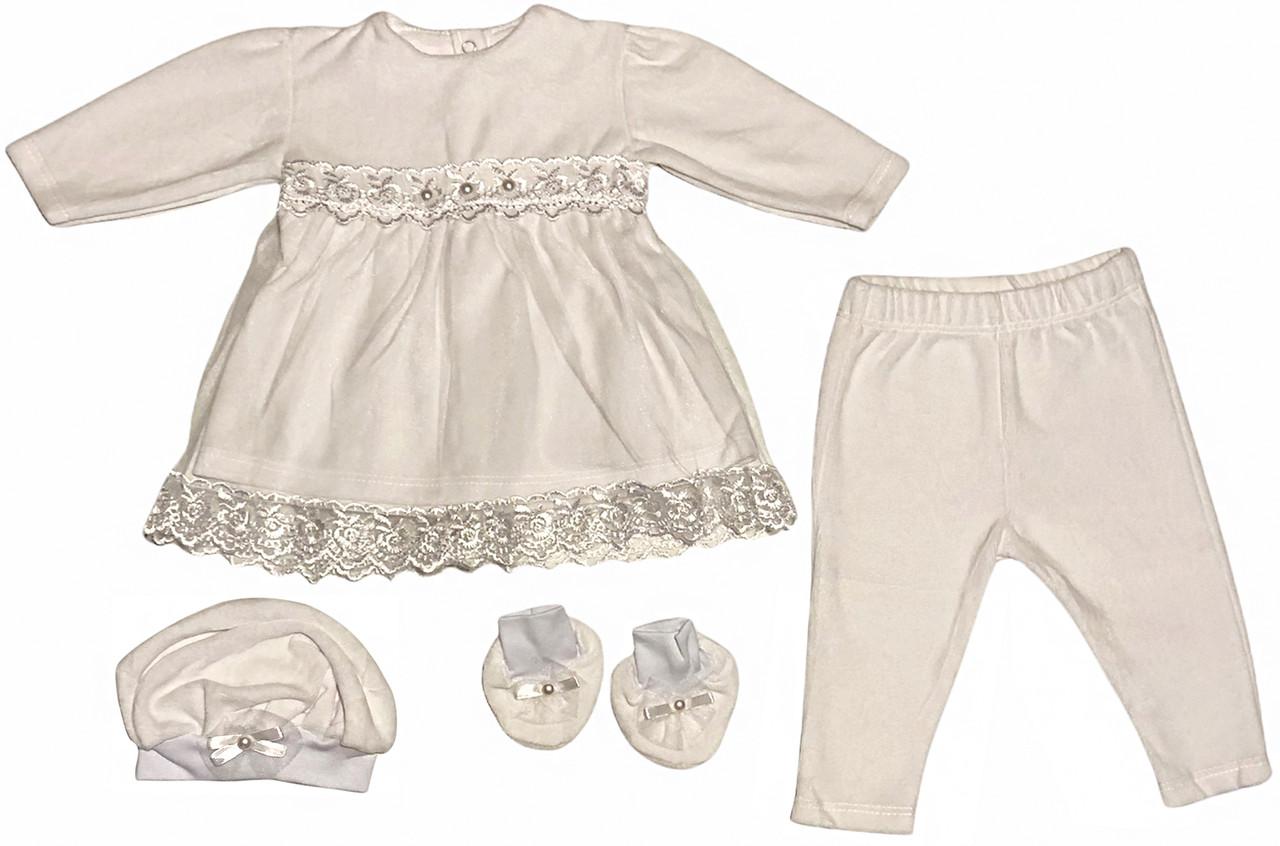 Крестильное платье костюм на девочку рост 74 6-9 мес наряд одежда для крещения крестин велюровое белое