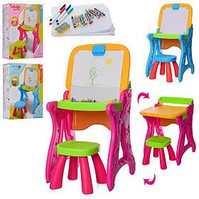 Мольберт 8815-8816 (10шт) 38-37,5-75,2в1(столик),стульчик,маркеры, мелки,2цв,в кор-ке,59-33,5-15,5см