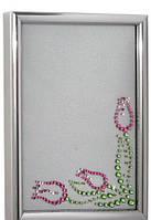 """Св.Фоторамка EL-10101  """"Тюльпаны"""", кристаллы SWAROVSKI розовые+зеленые"""