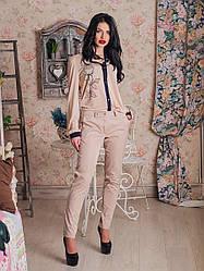 Классические женские брюки бежевого цвета