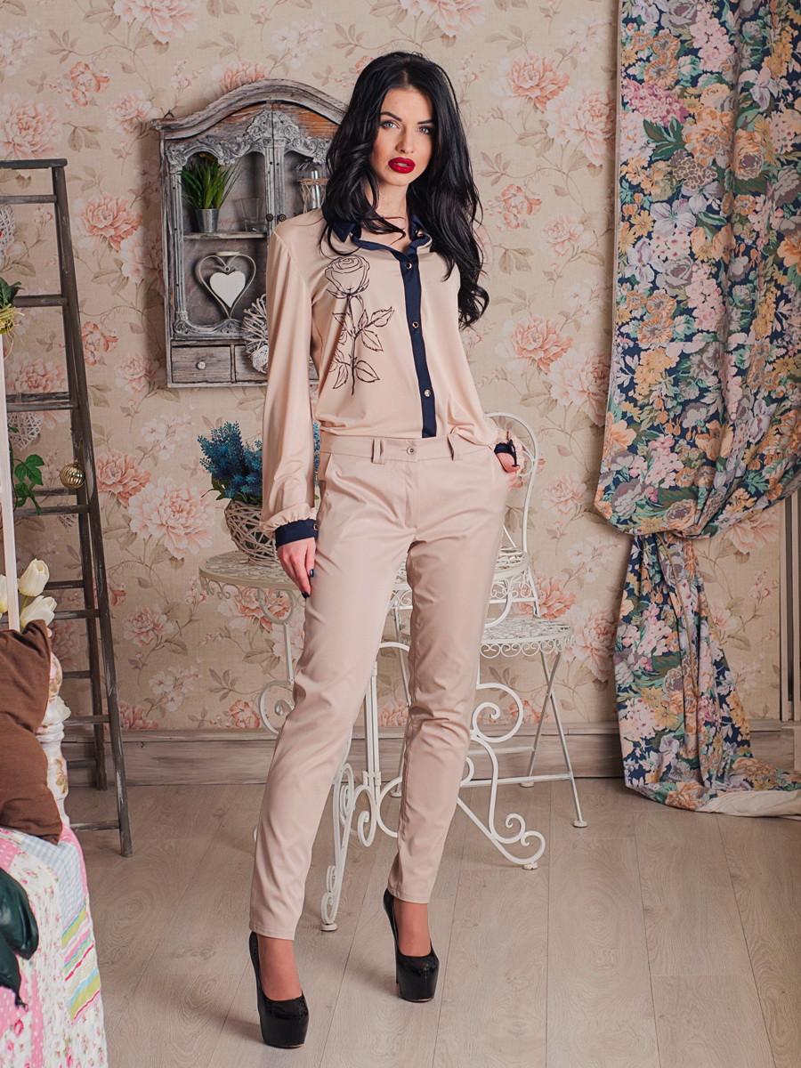Классические женские брюки бежевого цвета - MIZZ в Хмельницком 923b507278c7c