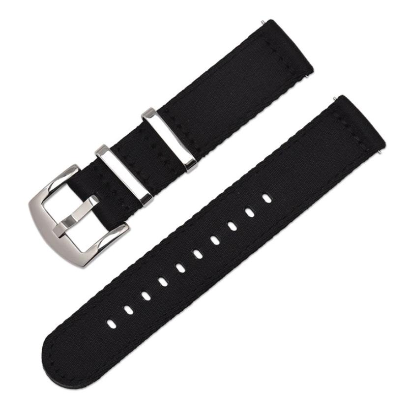 Тканинний ремінець для годинника, чорний. Нейлон. 20 мм