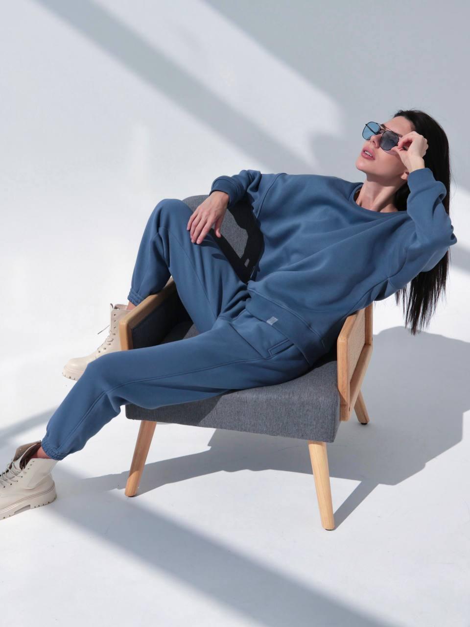 Костюм спортивний теплий світшот і штани на флісі синій XS-S