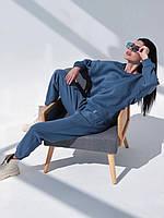 Костюм спортивний теплий світшот і штани на флісі синій XS-S, фото 1