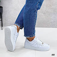 Женскиена кожаные кроссовки на шнуровке 36-41 р белый
