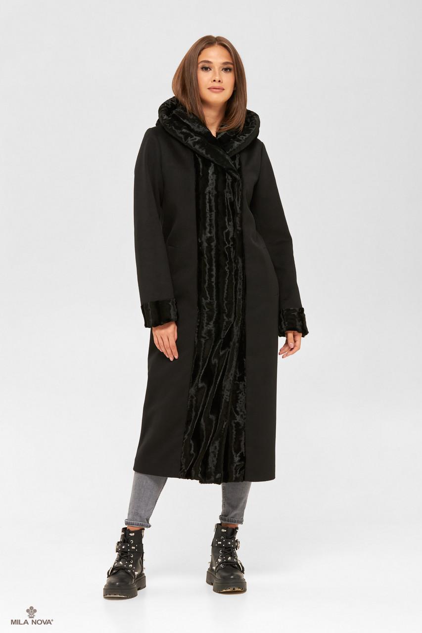 Зимове жіноче пальто прямого силуету з обробкою з штучного хутра чорний
