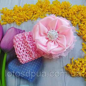 """Детская повязка на голову с бантом """"Белла"""" (розовая)"""