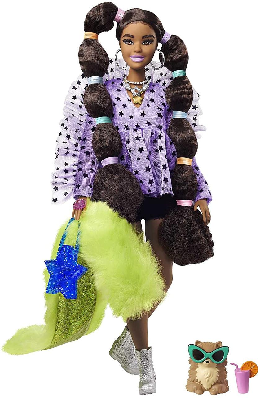 Кукла Барби Экстра №7 - Афроамериканка с переплетенными косами + 15 акс (Barbie Extra Doll 2021 GXF10)