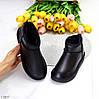 Натуральная кожа черные кожаные женские низкие угги зимняя классика, фото 2