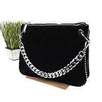 Жіноча стильна сумка-клатч натуральна замша чорний Арт.KDL-380 black Fashion Leisure (Китай)