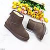 Модные низкие бежевые мокко замшевые женские низкие угги натуральная замша, фото 6