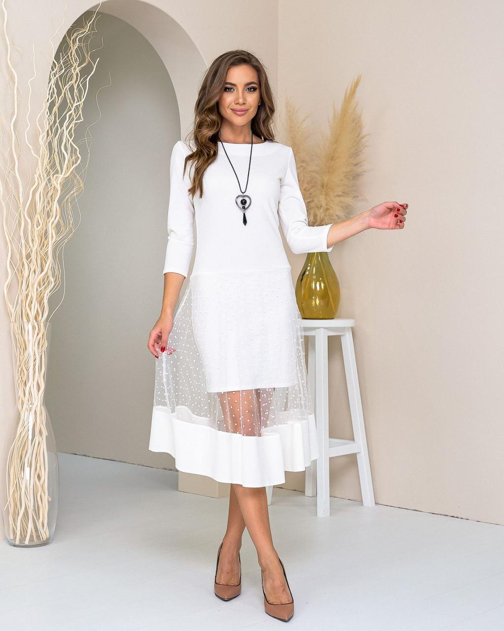 Платье креп дайвинг +сетка. арт 146 Белое