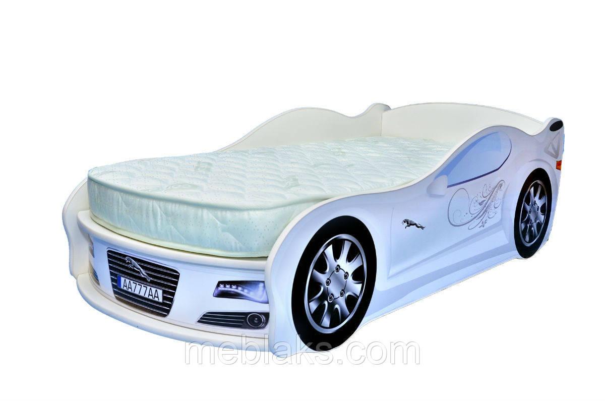 Кровать машина JAGUAR белая Mebelkon