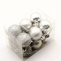Новорічні іграшки на ялинку - кулі 6см (12шт в упаковці) срібного кольору
