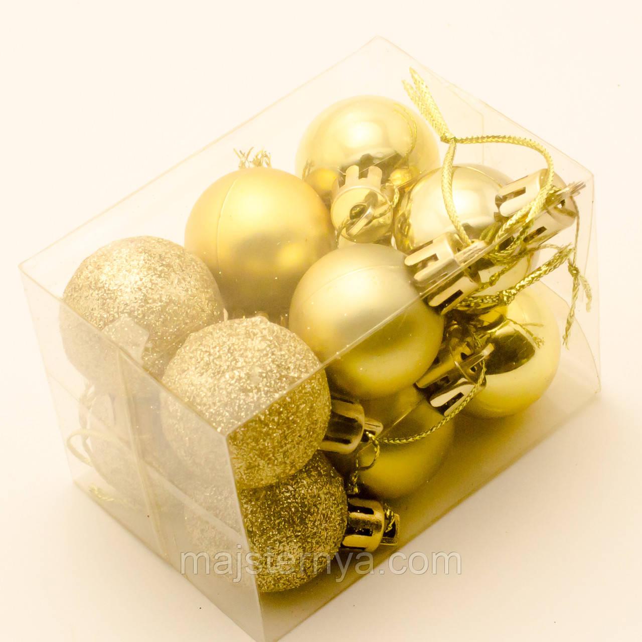 Новогодние игрушки на елку - шары 7см (12шт в упаковке) золотого цвета
