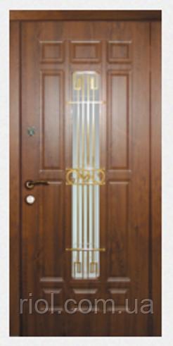 Дверь входная Астория со стеклом и ковкой серии Прайм ТМ Каскад