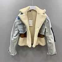 Куртка дубленка джинсовая женская зимняя