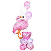 Нежная композиция с фламинго и шарами агат