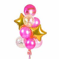 """Связка воздушных шаров с розовым кругом """"Happy Birthday"""""""