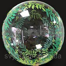 """Надувной шар Bubbles прозрачный Веточки с листьями 18""""(45см)  Китай"""