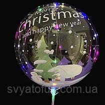 """Надувной шар Bubbles прозрачный Рождественские ёлочки 20""""(51см)  Китай"""