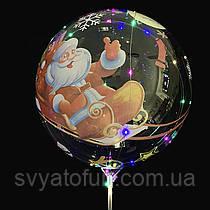 """Надувной шар Bubbles прозрачный Санта на санях 20""""(51см)  Китай"""