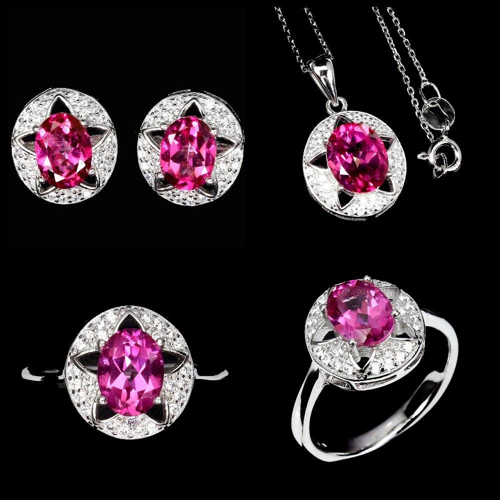Срібний Набір з натуральними Рожевими Топазами і фіанітами - Кулон, Перстень, Сережки