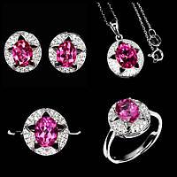 Срібний Набір з натуральними Рожевими Топазами і фіанітами - Кулон, Перстень, Сережки, фото 1