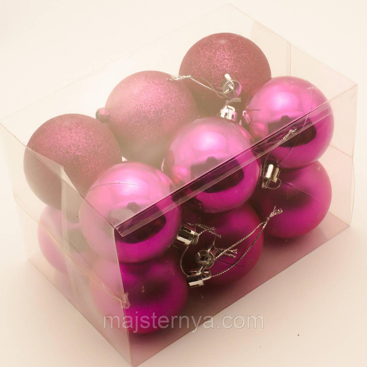 Новогодние шары на елку 6см (12шт в упаковке) цвет фуксия