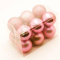 Новорічні кулі на ялинку 6см (12шт в упаковці) рожеві