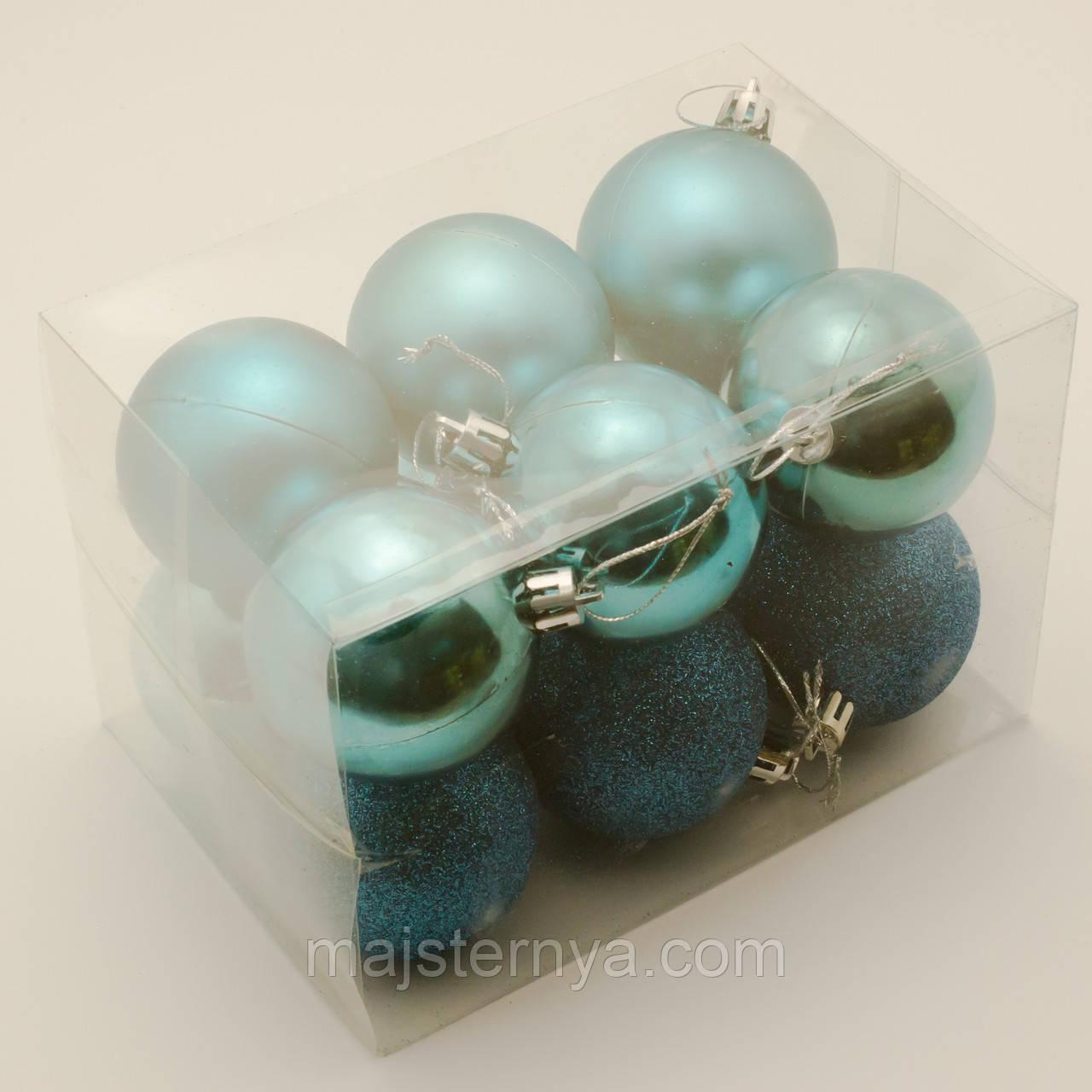 Новогодние шары на елку 6см (12шт в упаковке) бирюзовые