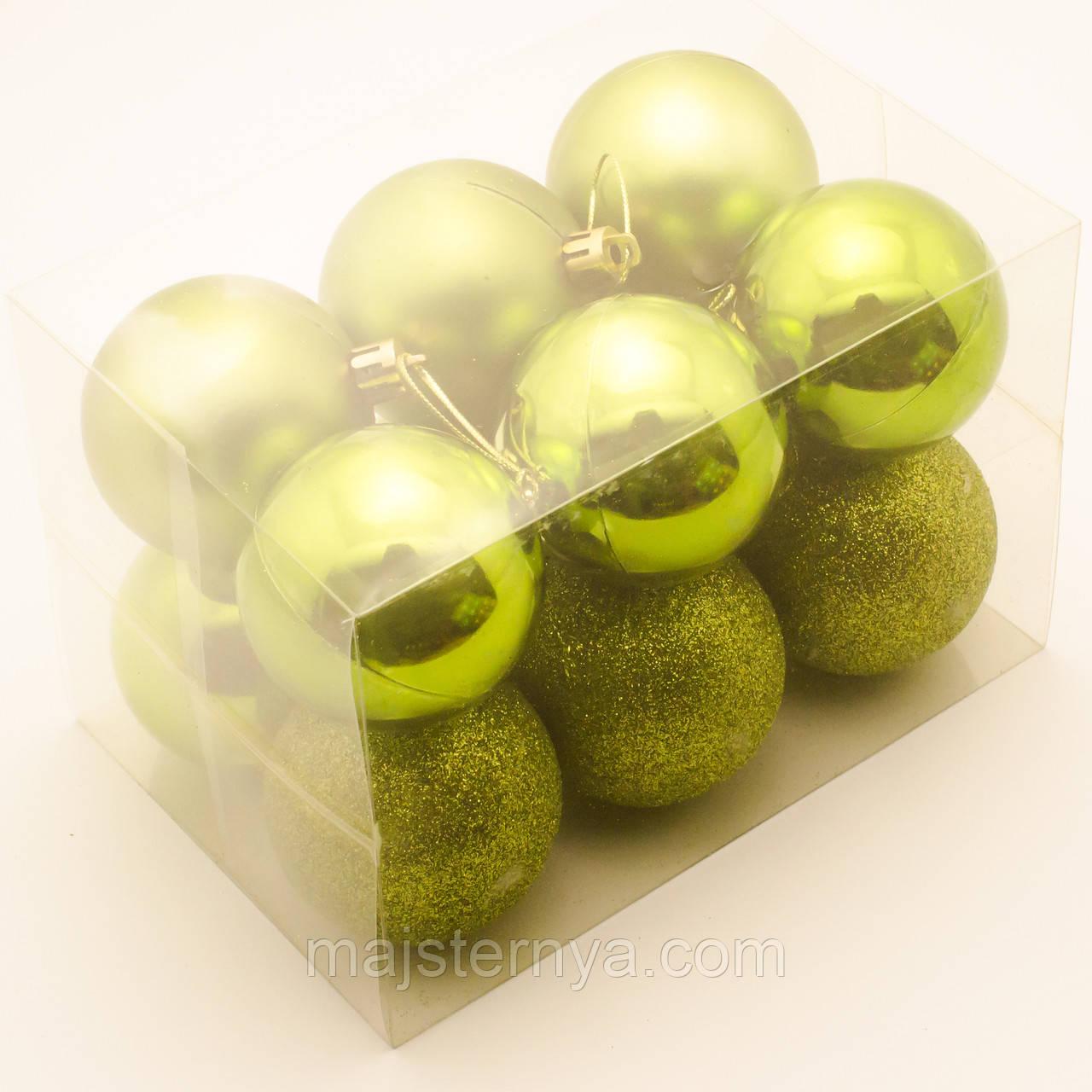 Новогодние шары на елку 6см (12шт в упаковке) зеленые