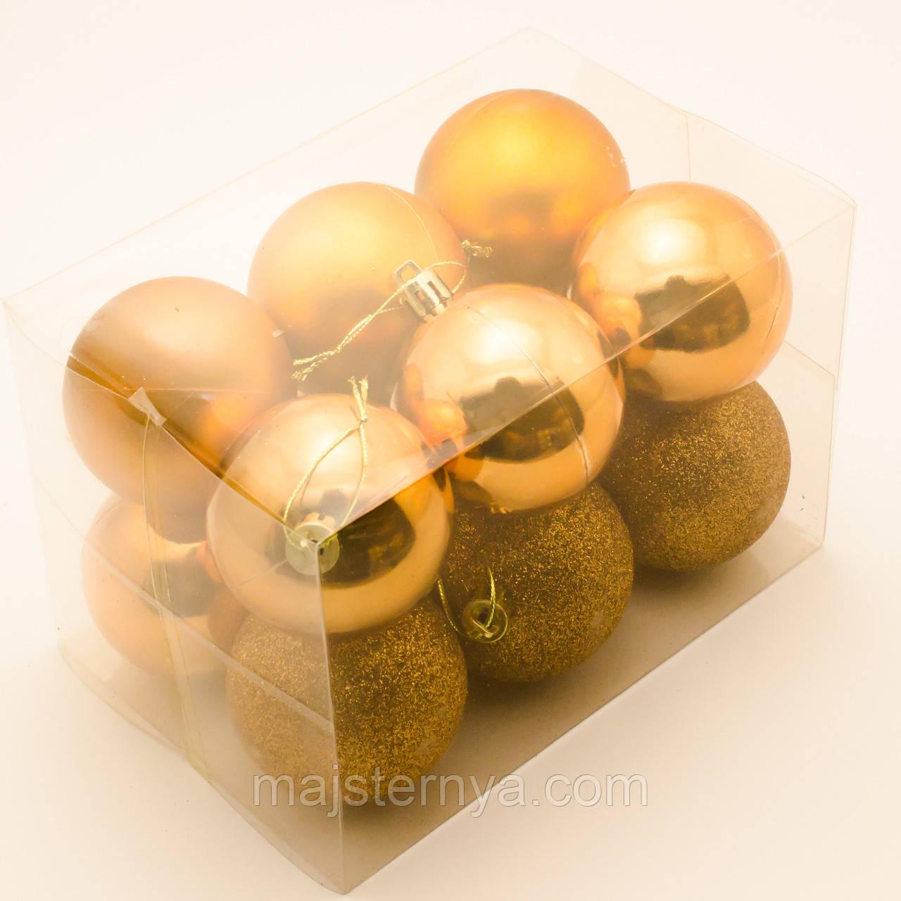 Новогодние шары на елку 6см (12шт в упаковке) оранжевые