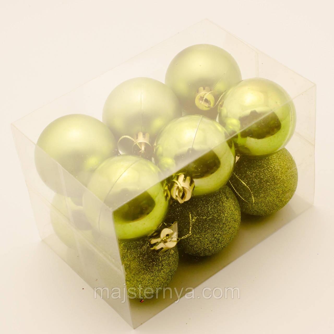Новорічні кулі на ялинку 5см (12шт в упаковці) зелені