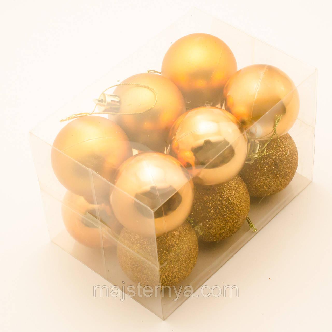 Новорічні кулі на ялинку 5см (12шт в упаковці) помаранчеві