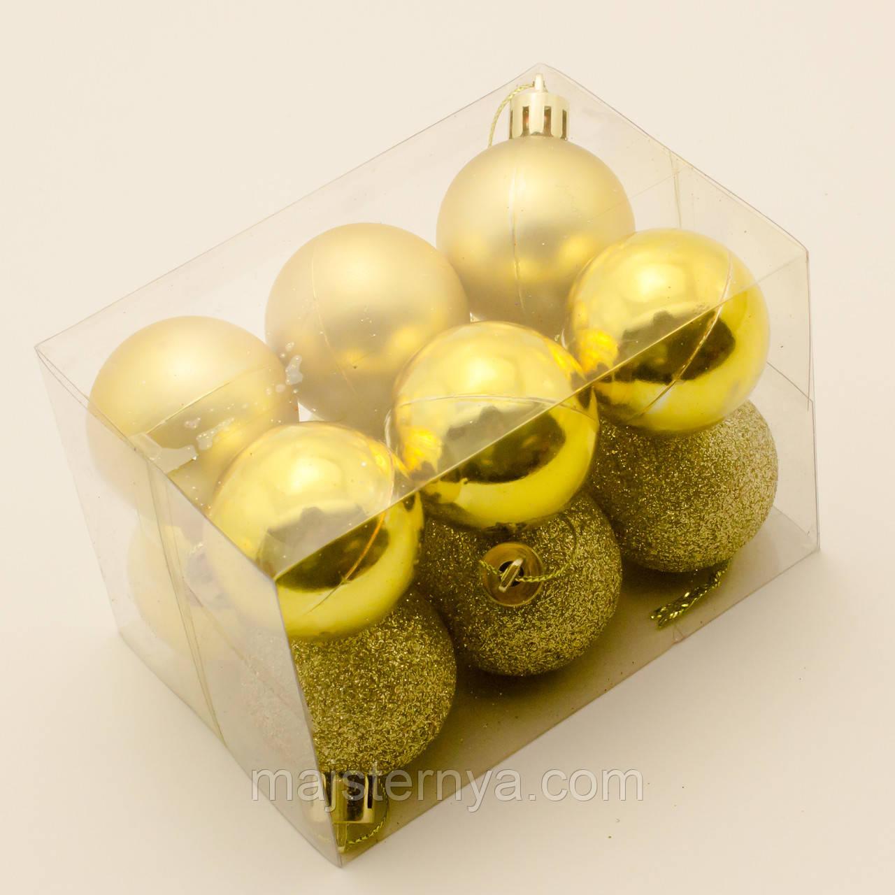 Новорічні кулі на ялинку 4см (12шт в упаковці) золотисті