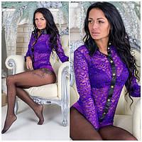 Боди гипюровый р.42-44 фиолет