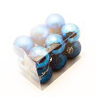 Новогодние шары на елку 4см (12шт в упаковке) синие