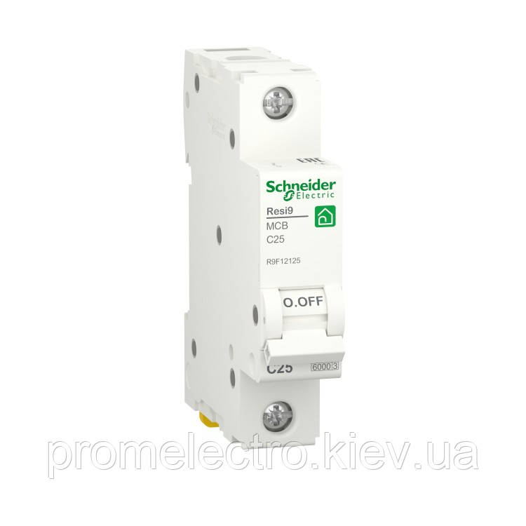 Автоматичний вимикач Schneider RESI9 1P 25A С 6кА (R9F12125)
