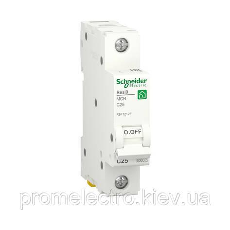 Автоматичний вимикач Schneider RESI9 1P 25A С 6кА (R9F12125), фото 2