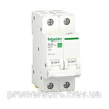 Автоматичний вимикач Schneider RESI9 2P 25A З 6кА (R9F12225)
