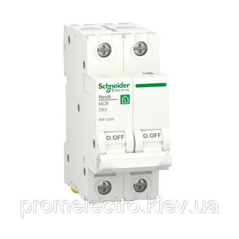 Автоматичний вимикач Schneider RESI9 2P 63A С 6кА (R9F12263), фото 2