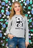 Женская серая кофта с рисунком панда