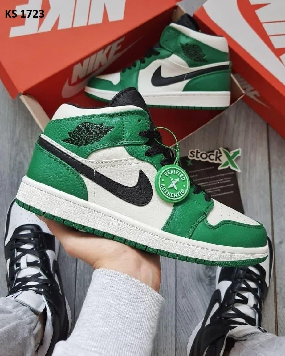 Мужские кроссовки Nike Air Jordan 1 (зеленые) KS 1723 высокие осенние кроссы