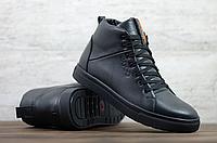 Чёрные кожаные зимние ботинки мужские ECCO   натуральная кожа / натуральная шерсть + термолполиуретан
