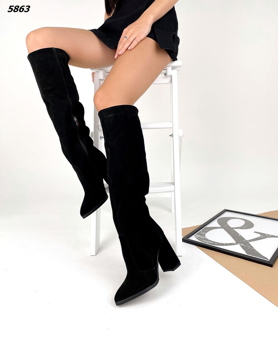 Жіночі замшеві зимові чобітки