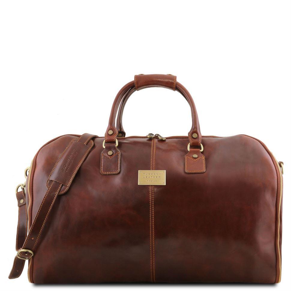 Вместительная кожаная сумка для путешествий унисекс Antigua TL141538 (Brown - коричневый)