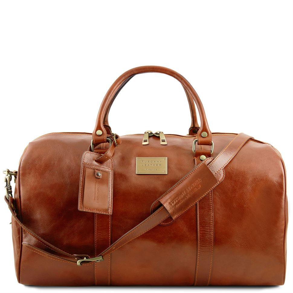 Дорожная кожаная сумка-даффл Tuscany Leather Voyager TL141247 (Honey – медовый)